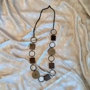 Anthropologie Wooden and Woven Raffia Necklace
